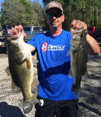 Eric Krause with 2 nice bass including 6.74 lb Big Bass to help him take 3rd place at Bob Sandlin/Cypress Springs
